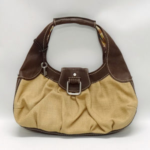 Fossil Straw & Leather Large Hobo Purse